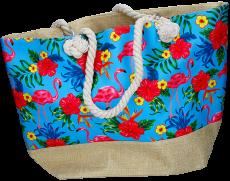 Strandtasche Flamingo blau