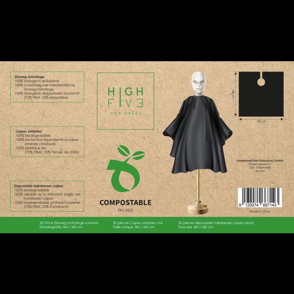 High Five BIO Einwegmäntel schwarz 50 Stk