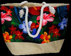 Strandtasche schwarz Blumen