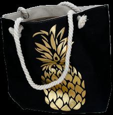 Strandtasche schwarz Ananas